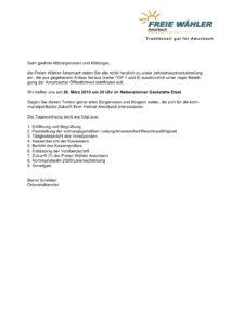 Einladung zur Öffentlichen Jahreshauptversammlung @ Nebenzimmer Gaststätte Etzel